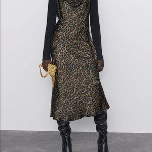 Zara leopard print silk slip midi dress